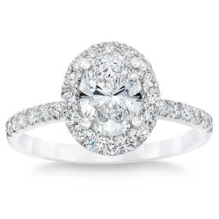 Natural 2.49 CT Diamond Bridal Ring 14K White Gold