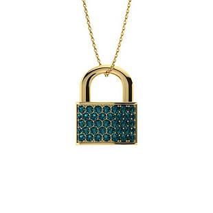 0.39 ctw Blue Diamond Necklace 18K Yellow Gold