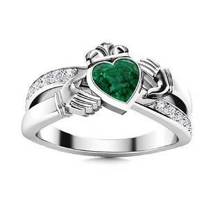 Natural 0.70 CTW Emerald & Diamond Engagement Ring 18K
