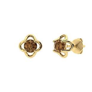 2.06 CTW Brown Diamond Studs Earrings 14K Yellow Gold