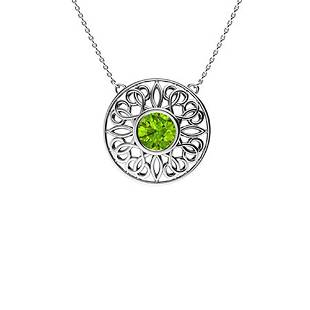 1.72 ctw Peridot Necklace 14K White Gold