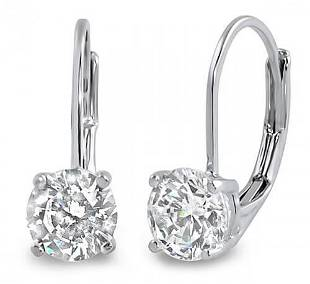 Natural 2.02 CTW Lever Back Round Cut Diamond Earrings