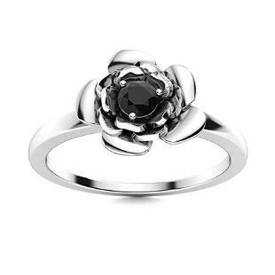 Natural 0.16 CTW Black Diamond Solitaire Ring 14K White