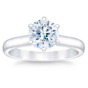 Natural 2 CT Diamond Solitaire Ring 14K White Gold