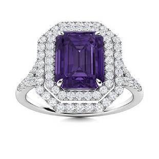Natural 1.86 CTW Amethyst & Diamond Engagement Ring 18K