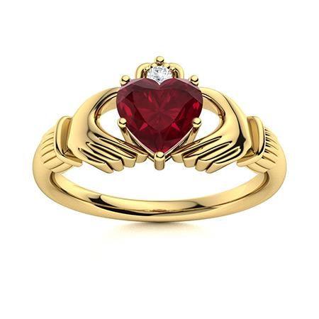 Natural 0.61 CTW Ruby & Diamond Engagement Ring 14K