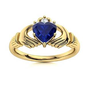 Natural 1.04 CTW Sapphire & Diamond Engagement Ring 18K
