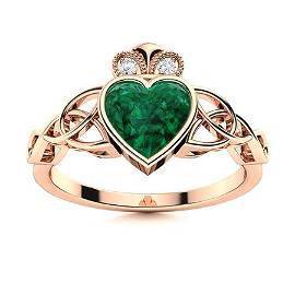 Natural 1.53 CTW Emerald & Diamond Engagement Ring 18K