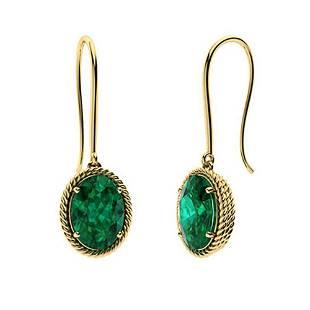 4.64 CTW Emerald Drops Earrings 18K Yellow Gold