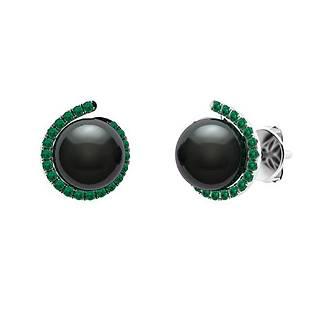 3.29 CTW Emerald & Black Pearl Halo Earrings 14K White