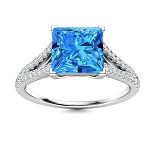 Natural 1.20 CTW Topaz & Diamond Engagement Ring 18K