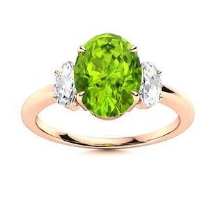 Natural 2.27 CTW Peridot & Diamond Engagement Ring 14K