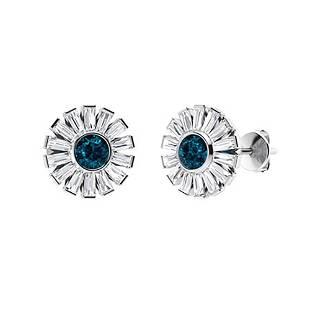 3.56 CTW London Blue Topaz & Diamond Halo Earrings 18K