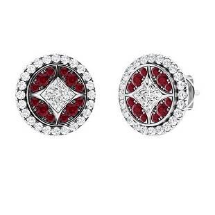 0.68 CTW Ruby Halo Earrings 14K White Gold