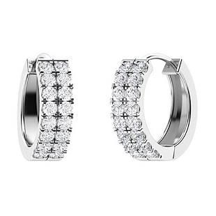 0.54 CTW Diamond Hoops Earrings 18K White Gold