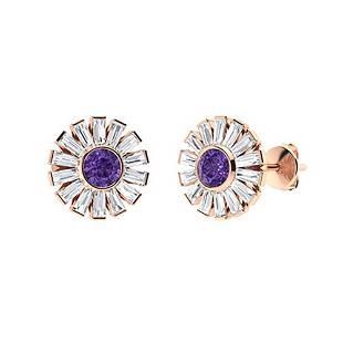 4.76 CTW Amethyst & Diamond Halo Earrings 14K Rose Gold