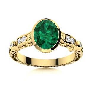 Natural 1.19 CTW Emerald & Diamond Engagement Ring 18K