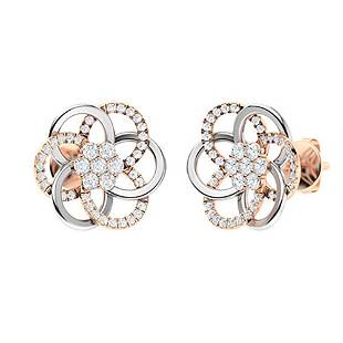 0.86 CTW Diamond Halo Earrings 18K Rose Gold