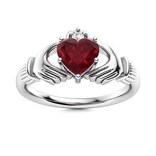Natural 0.62 CTW Ruby & Diamond Engagement Ring 18K