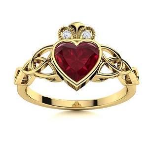Natural 1.02 CTW Ruby & Diamond Engagement Ring 14K