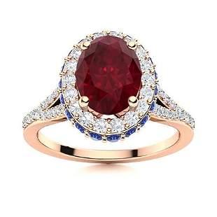 Natural 2.08 CTW Ruby, Sapphire & Diamond Engagement
