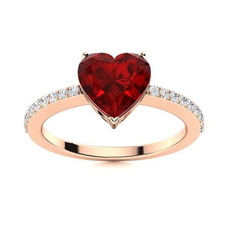 Natural 0.83 CTW Garnet & Diamond Engagement Ring 18K