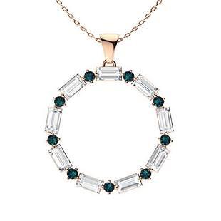 1.08 ctw White & Blue Diamond Necklace 14K Rose Gold