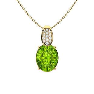 2.31 ctw Peridot & Diamond Necklace 14K Yellow Gold