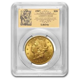 1907 $20 Liberty Gold Double Eagle BU PCGS (Prospector