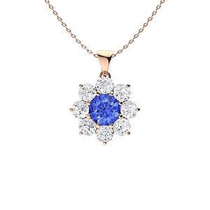 2.22 ctw Ceylon Sapphire & Diamond Necklace 18K Rose