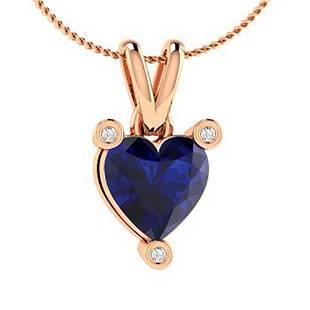 1.03 ctw Sapphire & Diamond Necklace 18K Rose Gold