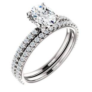 Natural 1.92 CTW Oval Cut Hidden Halo Diamond Ring 18KT