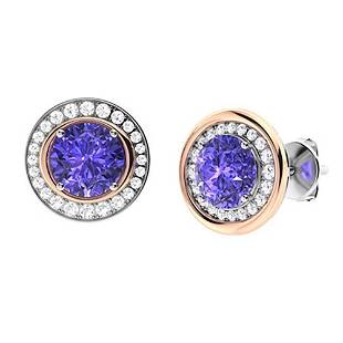 2.81 CTW Tanzanite & Diamond Halo Earrings 18K White