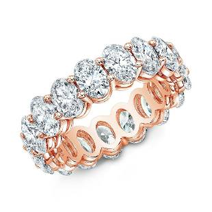 Natural 7.02 CTW Oval Cut Diamond Eternity Ring 18KT
