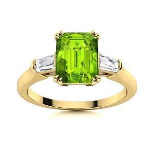 Natural 1.73 CTW Peridot & Diamond Engagement Ring 14K