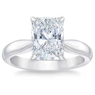 Natural 3.50 CT Diamond Solitaire Ring 14K White Gold