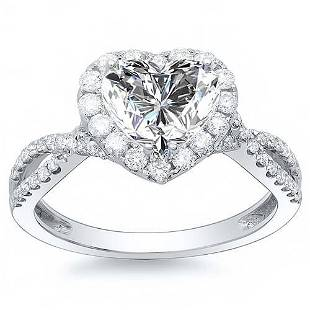 Natural 1.82 CTW Halo Heart Shape Twist Shank Diamond