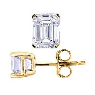 Natural 3.02 CTW Emerald Cut Diamond Stud Earrings 18KT