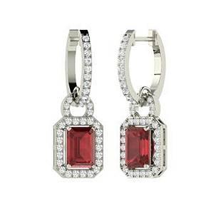 2.92 CTW Garnet & Diamond Drops Earrings 18K White Gold