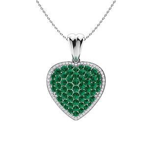 3.01 ctw Emerald & Diamond Necklace 18K White Gold