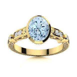 Natural 1.18 CTW Aquamarine & Diamond Engagement Ring