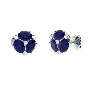 2.12 CTW Sapphire & Diamond Halo Earrings 18K White