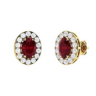 1.68 CTW Ruby & Diamond Halo Earrings 14K Yellow Gold