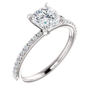Natural 1.97 CTW Cushion Cut Solitaire Diamond Ring