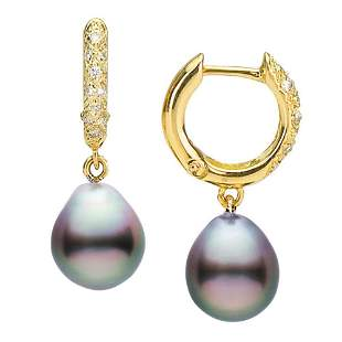 Large Black Tahitian Drop-Shape Pearl and Diamond Hoop