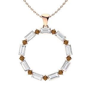 1.08 ctw White & Brown Diamond Necklace 14K Rose Gold