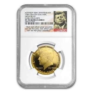 2014-W 3/4 oz Gold Kennedy 1/2 Dollar PF-70 NGC (ER)
