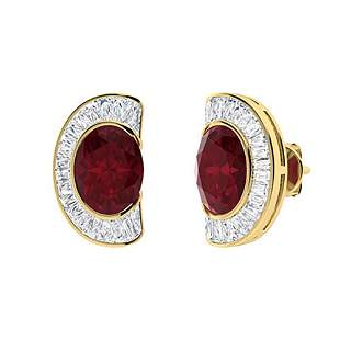 3.38 CTW Ruby & Diamond Halo Earrings 14K Yellow Gold