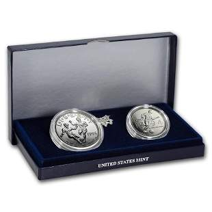 1994-D 2-Coin World Cup Set BU (w/Box & COA)