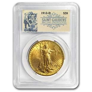 1913-D $20 Saint-Gaudens Double Eagle BU PCGS